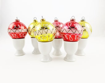 Six Holiday Ornaments From 'DGMa Western Germany' - Mid-Century Ornaments - 1960s Style Mercury Bulbs