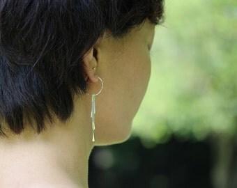 Silver Fringe Hoop Earrings, Long Dangle Earrings, Argentium Sterling Silver Jewelry