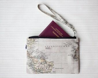Travel wallet clutch, passport wallet wristlet, wrist strap pouch
