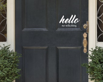 No Soliciting Door Decal Hello