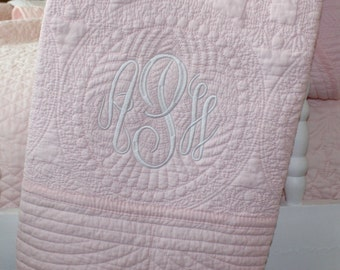 Monogrammed Baby Quilt- Several Color Options