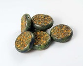 6 Rustic Beads in matched pair, polyclay fimo, polymer clay bead set
