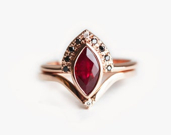 ruby engagement ring ruby wedding set ruby diamond ring marquise ruby ring - Ruby Wedding Ring