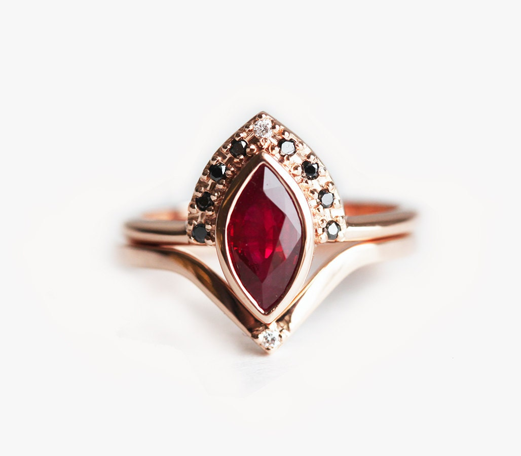 ruby engagement ring ruby wedding set ruby ring