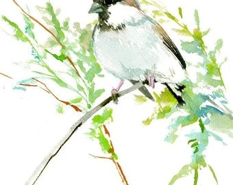 Reserved Male House Sparrow, original watercolor painting 10 X 8 in