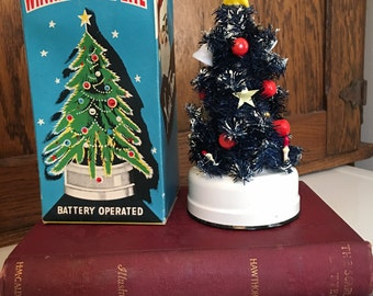 Vintage Winking Merry Lite Christmas Tree in Box, Navy Blue