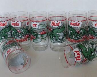 Set Of Eight Budweiser Frog Beer Glasses 1995