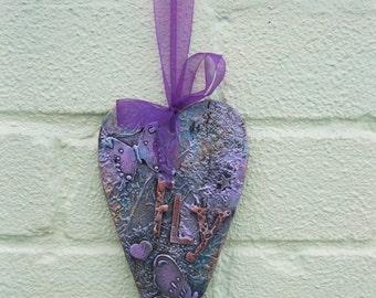 "Mixed Media heart shaped wallhanging - ""Fly"""