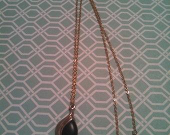 Elegant Black Enamel & Gold Tone Necklace