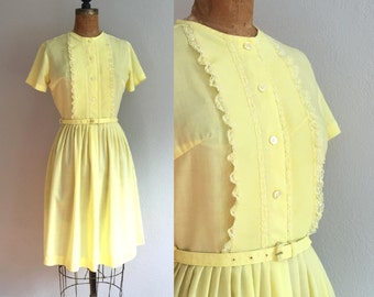 Vintage 1950s Shirtwaist Dress / REDUCED 50s 60s Ruffle Pintuck Buttercup Yellow Cotton Belted Button Up Full Skirt Shirt Dress - Small S