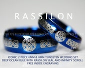 "Tungsten Wedding Set 6MM & 8MM In Deep Ocean Blue With "" Seal of Rassilon "" And Infinity Scroll Design Free Inside Engraving"
