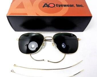 american aviator sunglasses j26c  Vintage American Optical USA RARE 23k Gold Pilot Aviator Sunglasses Cable  temples