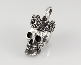 Handmade Solid Sterling Silver Crowned Skull Pendant