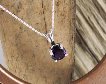 Sterling Silver Pendant/Necklace  Purple Amethyst Pendant/Necklace - Sterling Silver Setting with a 10mm Natural Purple Amethyst Gemstone