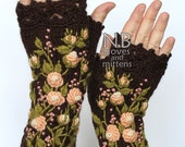 Knitted Fingerless Gloves, Roses, Brown, Peach, Pink Small Dots, Long, Clothing And Accessories,Gloves & Mittens,Gift Ideas,