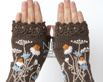 Knitted Fingerless Gloves, Chamomile, Clothing And Accessories, Gloves & Mittens, Gift Ideas, Accessories, READY TO SHIP