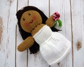 Brunette Bride Doll, Latina Bride Doll, Wedding Doll, Hand Knit Dolly, Soft Plush Toy, Flower Girl Gift