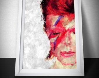 David Bowie Poster. Bowie painting print. Mounted Canvas available on request.