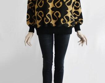90s Vintage Comfortable Yellow Black Swirly Decoration Women Sweater