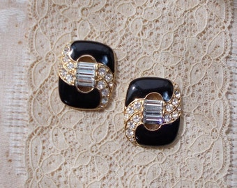 Trifari Black Enamel and Clear Rhinestone 1980s Post Earrings  2123