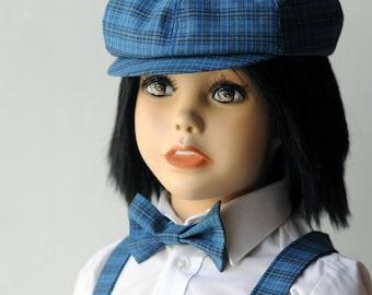 Boy newsboy hat Baby boy blue hat tartan Ring bearer outfit Toddler boy blue hat Summer outfit boy blue hat baby boy first birthday outfit