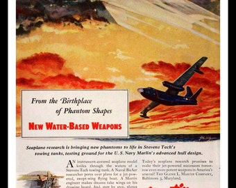 1952 Martin Aircraft Ad - Wall Art - Home Decor - Plane - Fighter - Marlin - Airplane - Military - Retro Vintage Travel Advertising