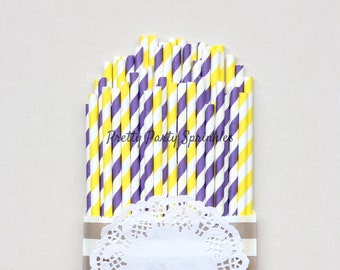 Purple and Bright Yellow Striped Straws/Lavender and Lemons Wedding Decorations/Bridal Shower Idea/First Birthday/Butterfly Garden Tea Party