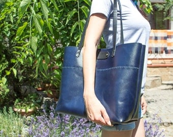 Dark blue leather tote bag