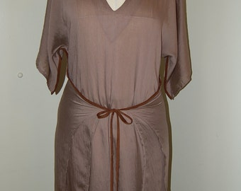 Handmade Taupe Tunic Dress with Brown Suede Trim Burda 6936 size S/M