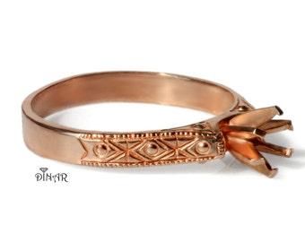14k rose gold Ring setting, six prong setting, Art Deco engagement , 18k Handmade engagement, milgrain engagement ring, antique ring setting