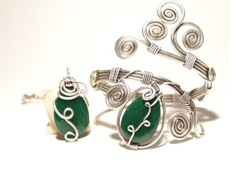 Wire Wrapped Jewelry, Emerald Jewelry Set, Wire Wrapped Stone Jewelry, Unique Jewelry, Anniversary Gift, Gift for Women, Gift for Her
