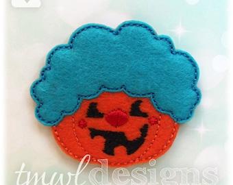 "Pumpkin Clown Feltie Digital Design File - 1.75"""