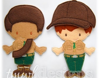 Boy Scouts Felt Paper Doll Toy Outfits Digital Design File - 5x7