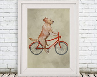Golden Retriever Print, golden retriever Illustration Art Poster Acrylic Painting Kids Decor Drawing Gift, Dog on bicycle, bicycle print