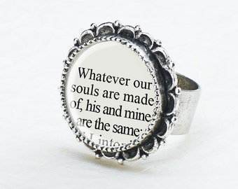 Literature Jewelry - Wuthering Heights Ring - Emily Bronte - Literary Quote - Wuthering Height Book Jewelry - Book Lover Gift