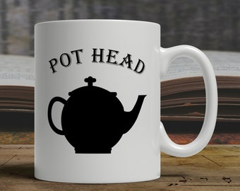 Pot Head Tea mug Cheeky play on words with silhouette of teapot great gift for tea drinkers Can be personalized E1408