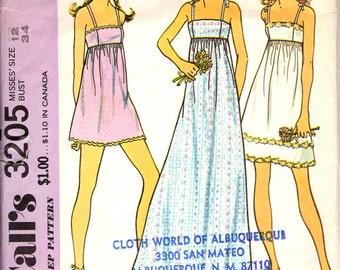 Rare 1972 Mini Maxi Empire Dress Vintage Pattern / McCall's 3205 / High Waisted Dress / Size 12 Bust 34