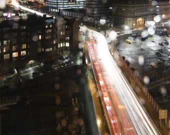Rush Hour in the City of Rain. Manchester City Street Night Long Exposure Photographic Print