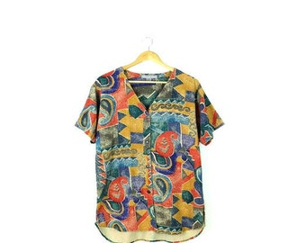Vintage Oversized Abstract Pure Silk Short Sleeve Blouse from 1980's*