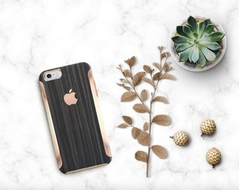 Platinum Natural Series Ebony Metallic Wood Grain with Rose Gold Detailing Hybrid Hard Case Otterbox Symmetry iPhone 6 / iPhone 7  Galaxy S7
