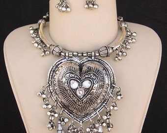 Tribal Fusion Bellydance Necklace Earrings Jewellry Set Kuchi Silver Tibet