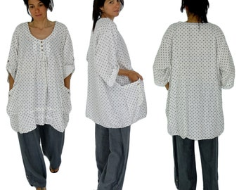 HK500W54 tunic blouse linen layered look points vintage Gr. 52 / 54 white