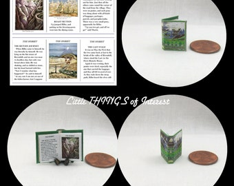 THE HOBBIT By J. R. R. Tolkien Miniature Book Dollhouse 1:12 Scale Illustrated Readable Book