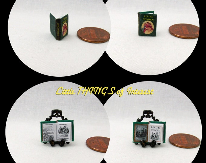 1/24 Scale Book LITTLE WOMEN Miniature Book Dollhouse Illustrated Book Half Inch Scale