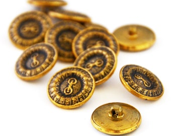 12 x Buttons: Fancy Patterened Gold Shank (6 pairs)