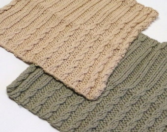 "Knit Spa Cloths: Two Hand Knitted Cotton & Linen Blend Cabled Cloths, Bath Cloths, WashCloths, Face Cloths, 8"" x 9"",  FREE U.S. SHIPPING"