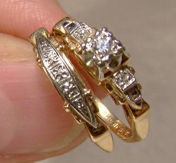 Art Deco 14K 18K Gold Diamond Wedding Engagement Ring Set