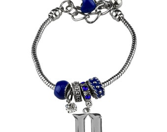 DUKE University Blue Devils Silver Bracelet made of Duke Blue Beads & a DUKE Logo Charm