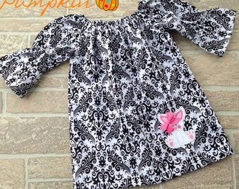 Easter Dress Black White Damask Peasant Dress with Bunny applique