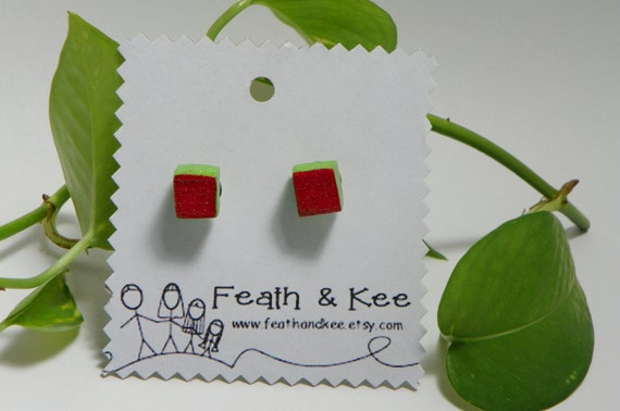 red and lime green hand painted glitter wooden cube earrings from Feath and Kee